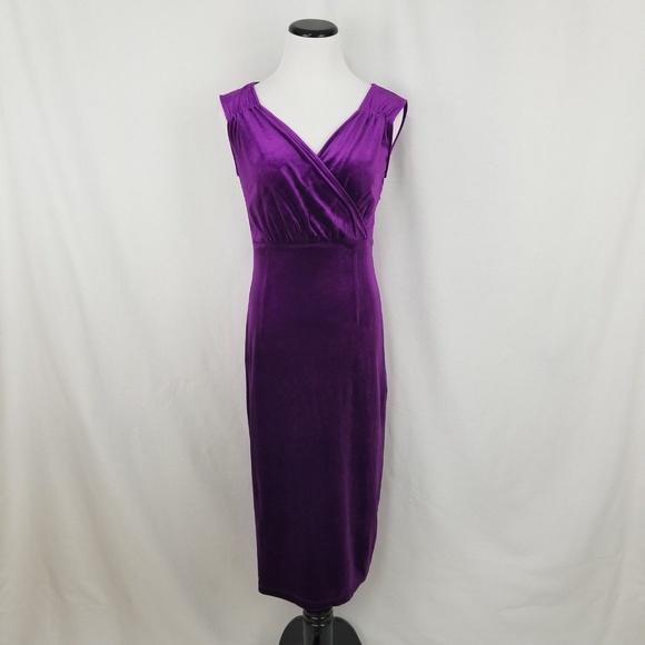 Amelia Dresses & Skirts - NEW Amelia Bright Plum Purple Velvet Midi Dress